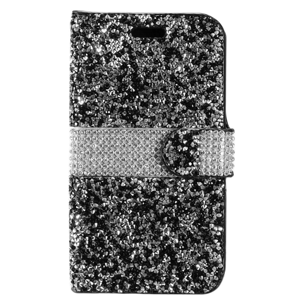 ZTE Max XL Bling Wallet Case, REDshield [Black Shiny Sparkling Gem w/ Silver] Kickstand Feature Luxury Faux Saffiano Leather Front Flip Cover with Built-in Card Slots, Magnetic Flap
