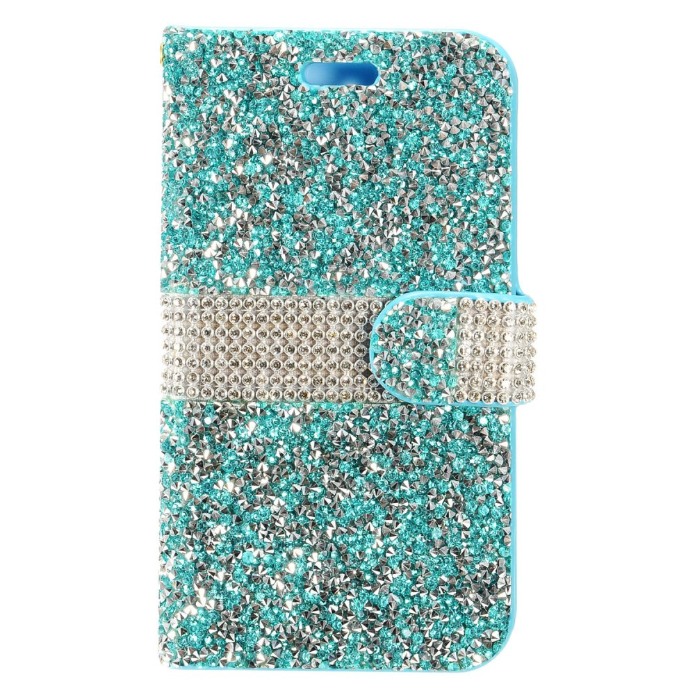 ZTE Max XL Bling Wallet Case, REDshield [Mint Shiny Sparkling Gem w/ Silver] Kickstand Feature Luxury Faux Saffiano Leather Front Flip Cover with Built-in Card Slots, Magnetic Flap