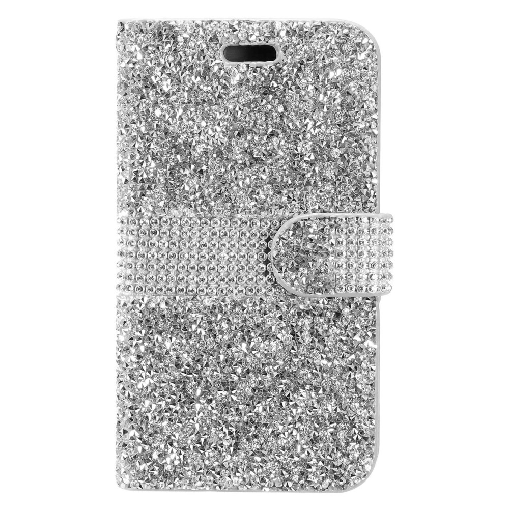 ZTE Max XL Bling Wallet Case, REDshield [Silver Shiny Sparkling Gem w/ Silver] Kickstand Feature Luxury Faux Saffiano Leather Front Flip Cover with Built-in Card Slots, Magnetic Flap