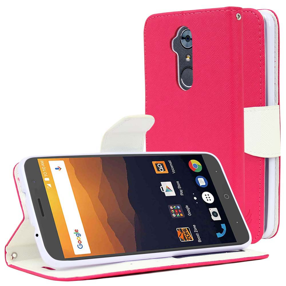 ZTE Max XL Diary Case, [Hot Pink/ White] Kickstand Feature Luxury Faux Saffiano Leather Front Flip Cover with Built-in Card Slots, Magnetic Flap with Travel Wallet Phone Stand