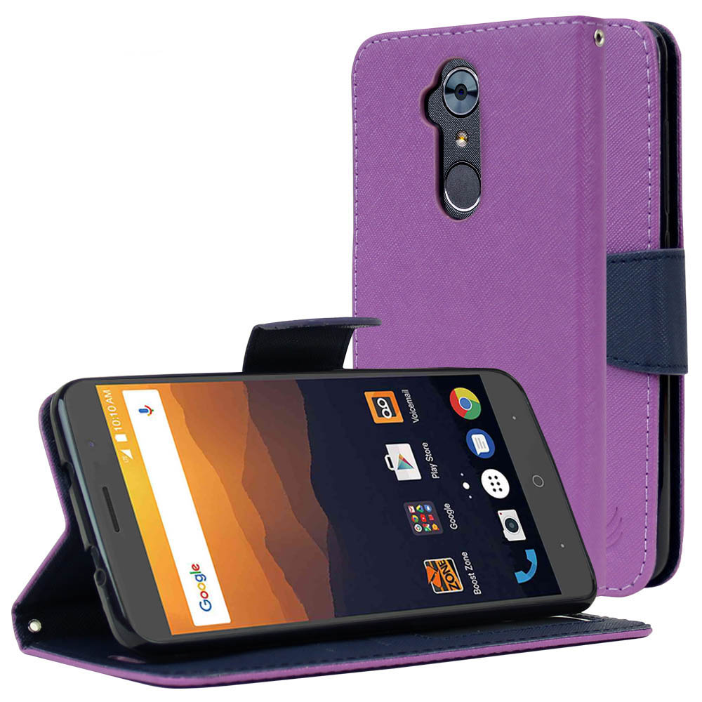 ZTE Max XL Diary Case, [Purple/ Navy] Kickstand Feature Luxury Faux Saffiano Leather Front Flip Cover with Built-in Card Slots, Magnetic Flap with Travel Wallet Phone Stand