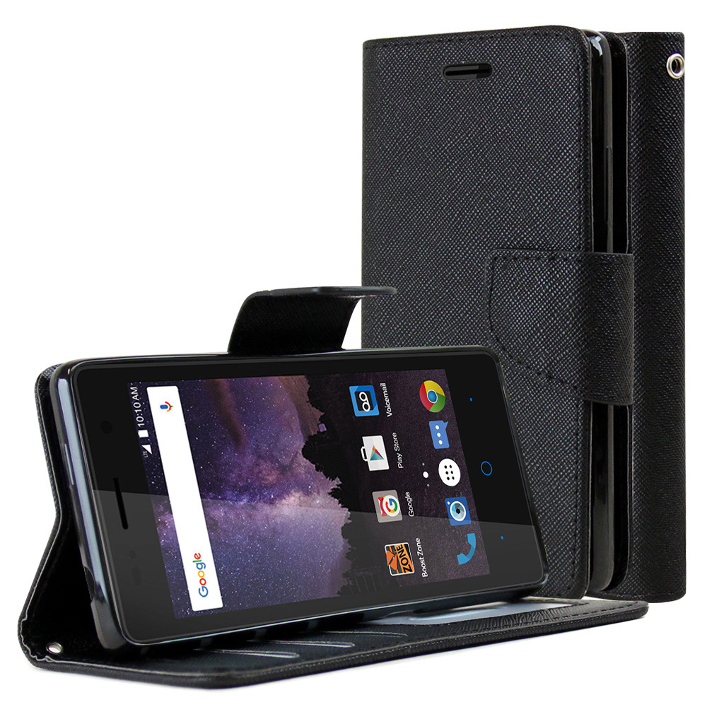 [ZTE Tempo] Diary Case, REDshield [Black] Kickstand Feature Luxury Faux Saffiano Leather Front Flip Cover with Built-in Card Slots, Magnetic Flap with Travel Wallet Phone Stand