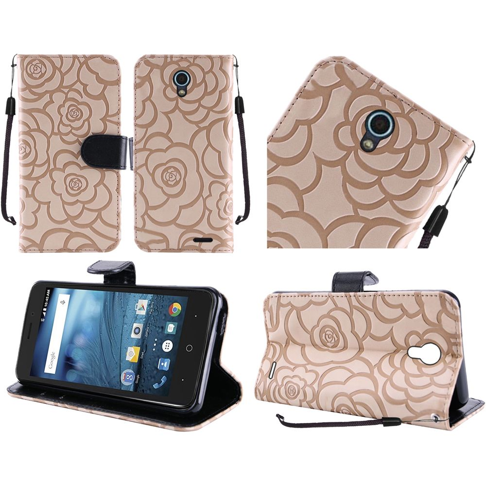ZTE Avid Trio Case, Luxury Faux Leather Textured Rose Design Front Flip Cover Diary Wallet Case w/ Magnetic Flap [Tan/ Cream White]
