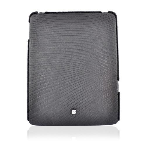 Apple iPad (1st Gen) Eno-Case Stretchy Textured Case w/ Horizontal Lines Design -Black