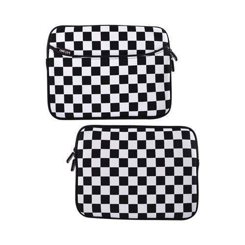 Premium Apple iPad 1st/2nd Gen Nylon Sleeve Case w/ Zipper and Front Pocket - Checkered Black and White