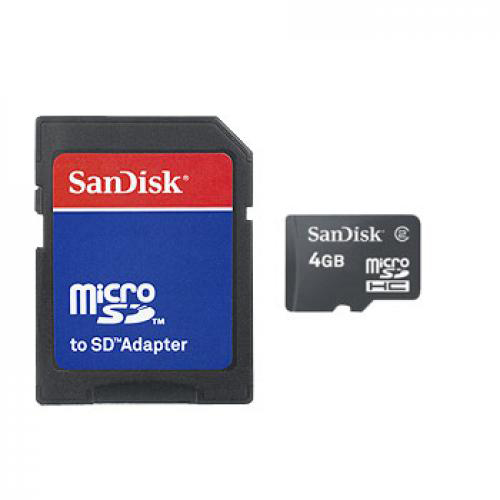 SanDisk 4GB Micro SDHC Memory Card w, SD Adapters