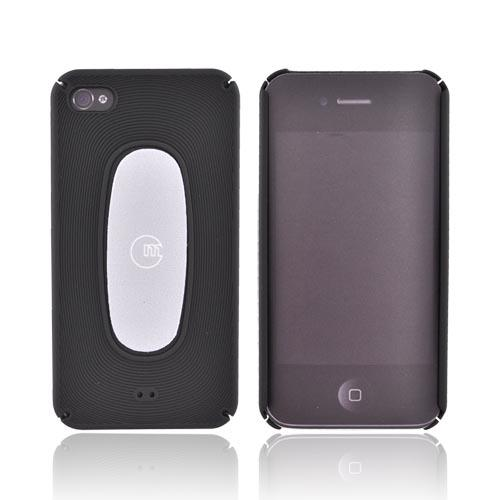 Original Macally AT&T/Verizon Apple iPhone 4 Rubberized Hard Back Cover Case w/ Screen Cleaning Sticky Swipe, METROBP4 - Black