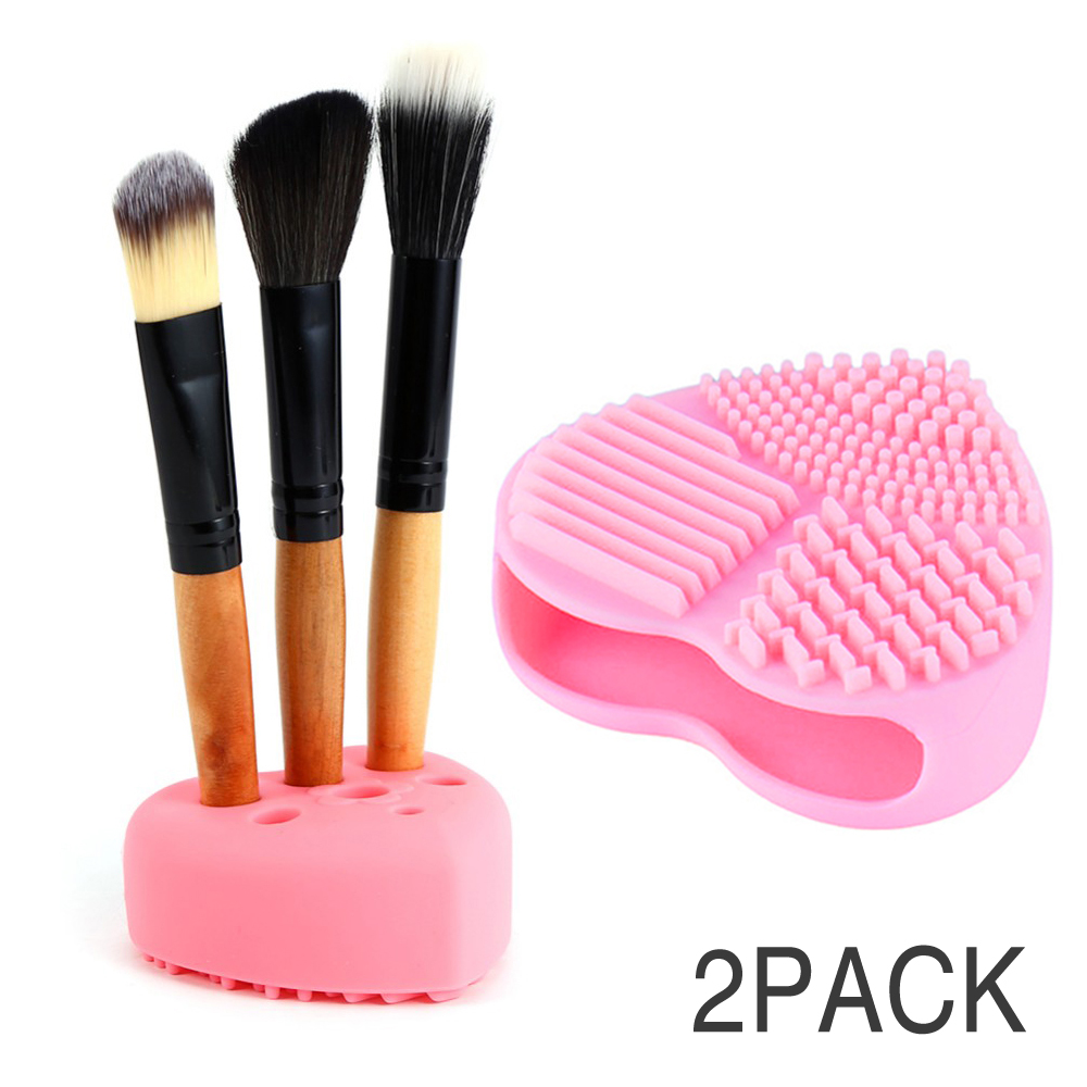 Eutuxia Makeup Brush Cleaner & Holder Set. Silicone Finger Glove. Portable Washing Scrubber Tool for Cleaning Cosmetic Brushes. Heart Shaped Scrubbing Board, Pad with Organizer. Small & Large Bundle.