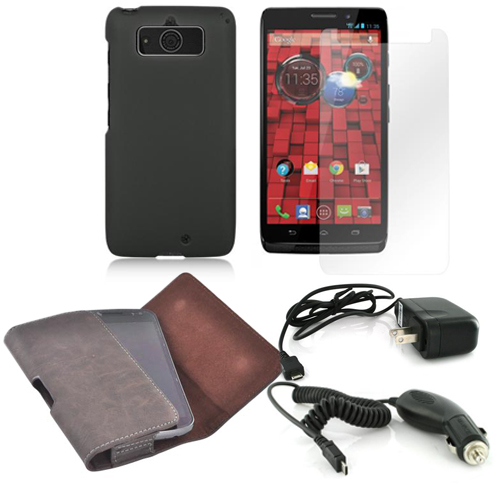 Essential Bundle Package w/ Black Rubberized Hard Case, Screen Protector, Leather Pouch, Car & Travel Charger for Motorola Droid Mini