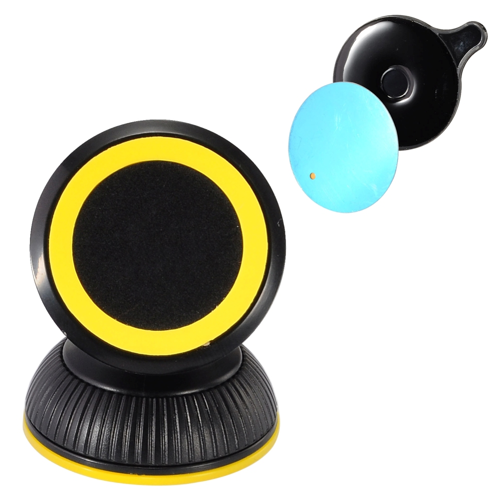 Phone Mount, Universal 360 Degree Rotating Magnetic Car Mount Holder [Black/ Yellow]