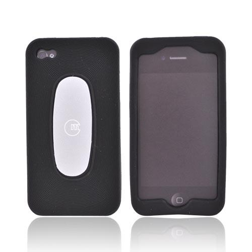 Original Macally AT&T/Verizon Apple iPhone 4 Silicone Case w/ Screen Cleaning Sticky Swipe, MSUITP4 - Black
