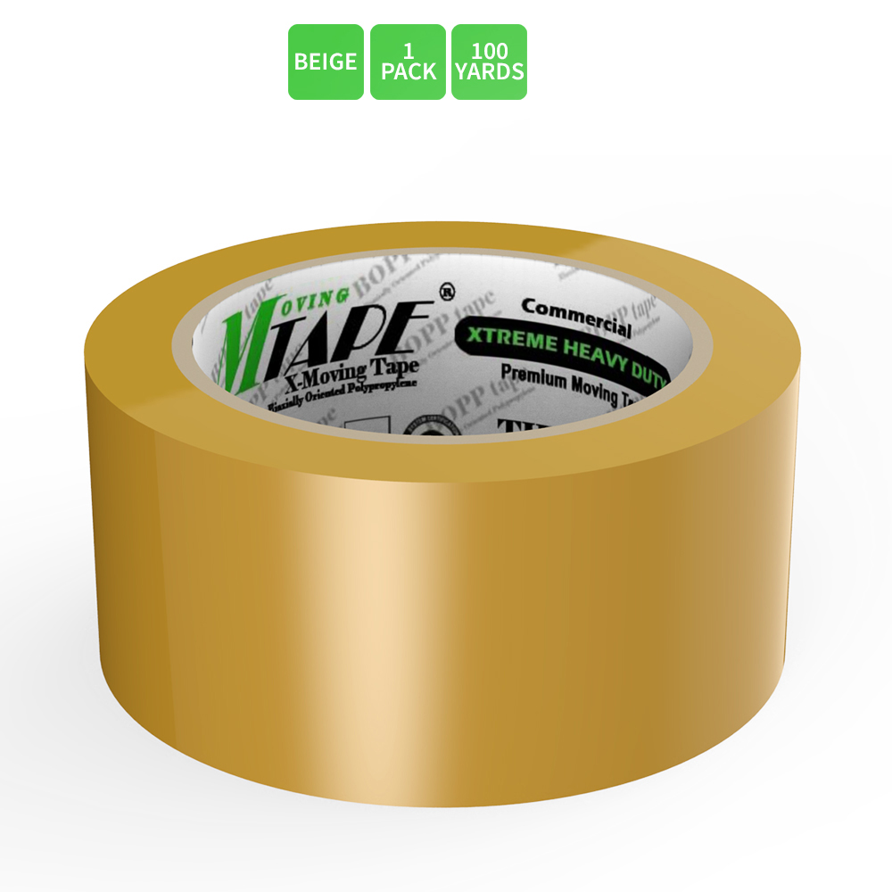 Moving / Storage Tape, 1 Roll of Commercial Grade [M Tape- BEIGE] Value Bundle for Heavy Duty Packaging [1.9 Inches x 100 Yards]