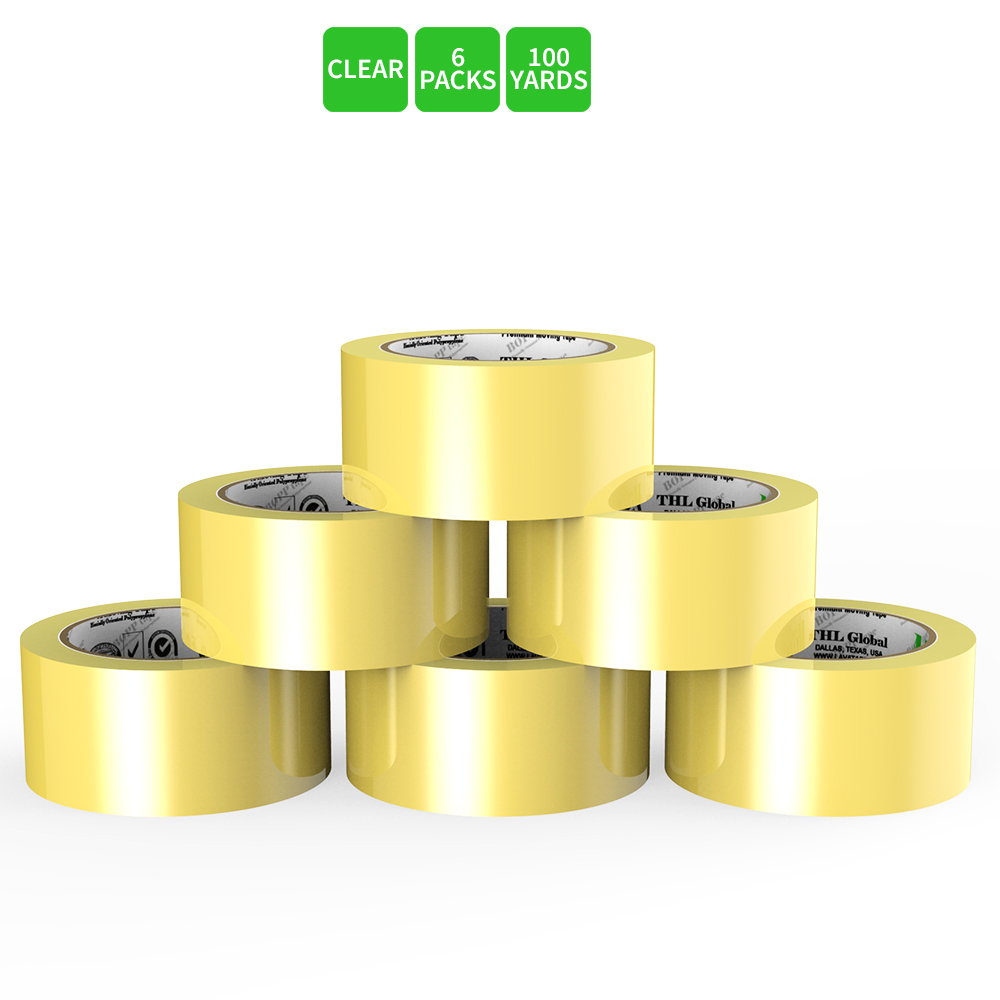 Moving / Storage Tape, 6 Rolls of Commercial Grade [M Tape- CLEAR] Value Bundle for Heavy Duty Packaging [1.9 Inches x 100 Yards]