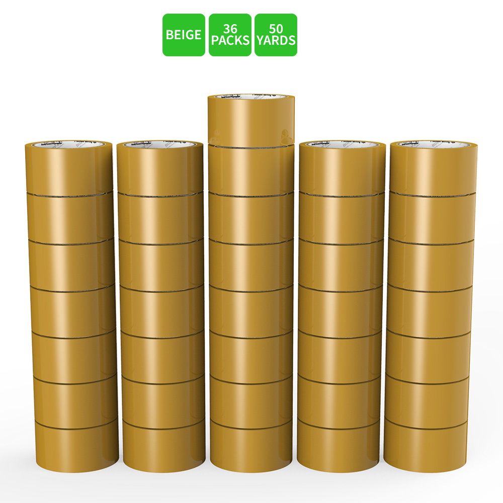 Moving / Storage Tape, 36 Rolls of Commercial Grade [M Tape- BEIGE] Value Bundle for Heavy Duty Packaging [1.9 Inches x 50 Yards]