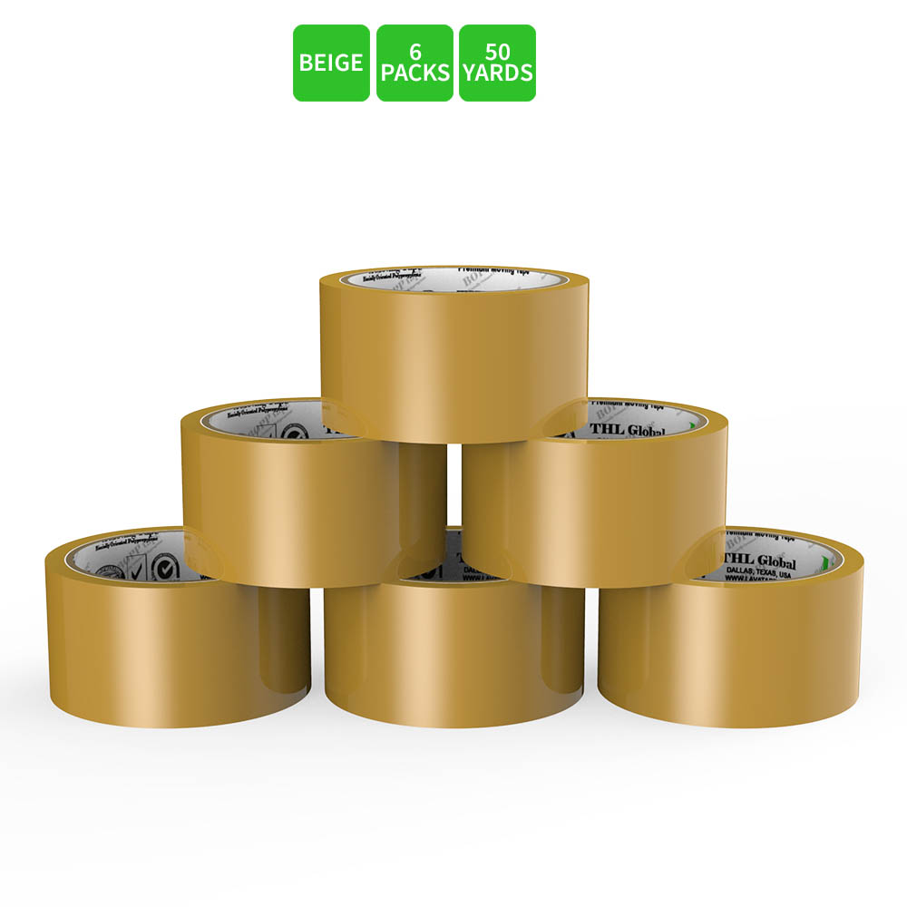 Moving / Storage Tape, 6 Rolls of Commercial Grade [M Tape- BEIGE] Value Bundle for Heavy Duty Packaging [1.9 Inches x 50 Yards]