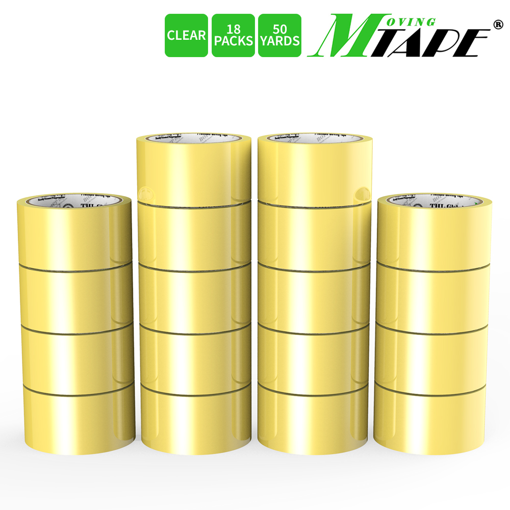 Moving / Storage Tape, 18 Rolls of Commercial Grade [M Tape- CLEAR] Value Bundle for Heavy Duty Packaging [1.9 Inches x 50 Yards]