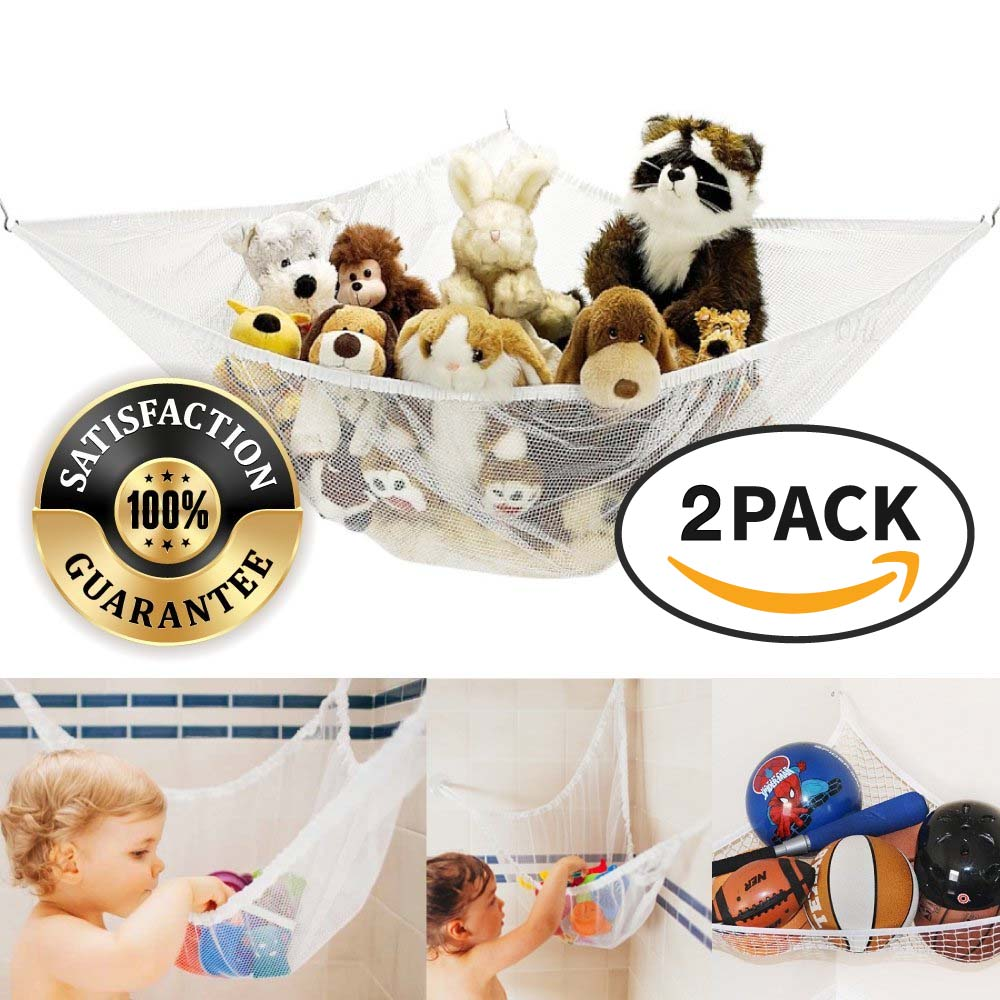 Eutuxia Toy Storage Hammock, Large Organizer for Stuffed Animals, Balls, Plush Toys, Etc. Stylish, Effective Way to Organize Kids &Children's Room. Secure with 3 Metal Hooks & Durable Mesh Net. [2 PK]