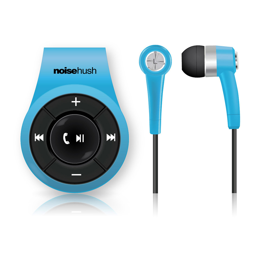 NoiseHush NS560 Clip-on Bluetooth Dongle & Stereo Headset Combo - Perfect for Apple Phone 7 & 7 Plus! [Blue]