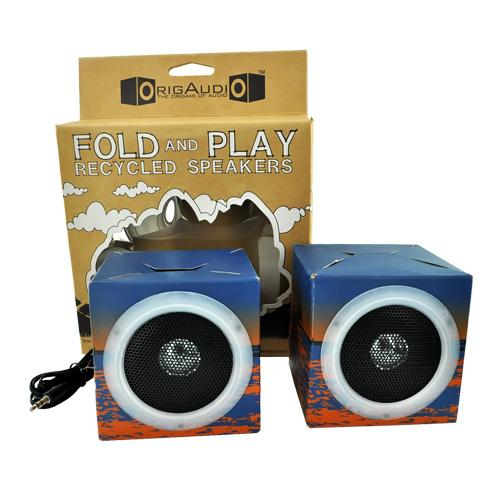 Original OrigAudio Premium Fold N' Play Recycled Speakers 3.5mm - Surfbreak Design