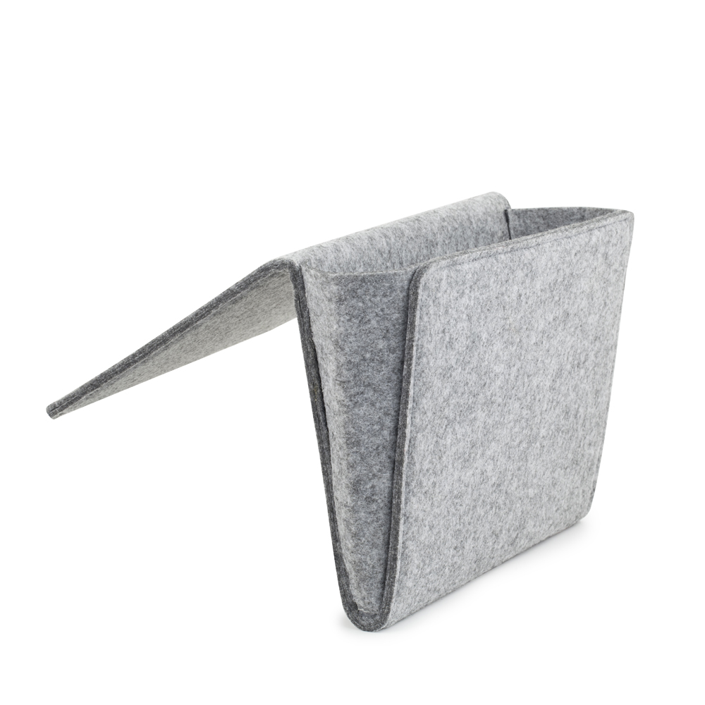 [Kikkerland] Bedside Caddy, [Gray] Felt Bedside Caddy Pocket - Never Lose the Remote Again!