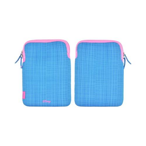 "Original Pastry (Up to 10.1"" Tablets like Apple iPad 4/ Samsung Galaxy Tab 3 10.1) Neoprene Sleeve Case - Blue Stripes w/ Baby Pink Zipper"