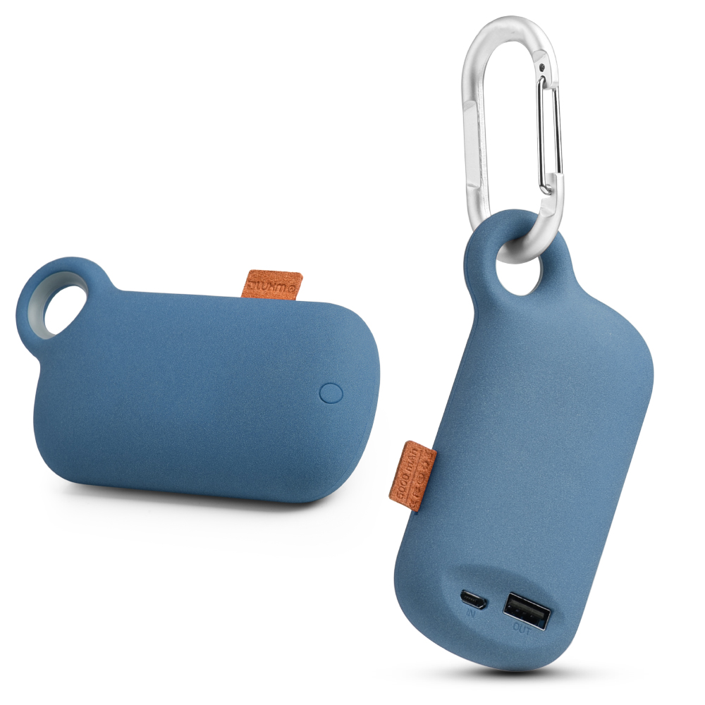 Universal 5000 mAh Portable Power Bank Charger w/ Carabiner Clip [Blue]
