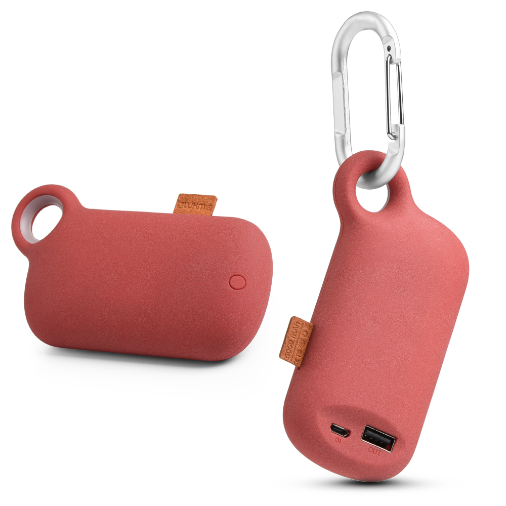 Universal 5000 mAh Portable Power Bank Charger w/ Carabiner Clip [Red]