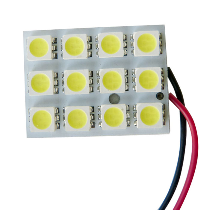 PCB 12 LED Bulb SMD-5050 LED Dome Light Panel [White] - Light up w/ Any 12V Power Source Including Any Power From Boat, Car, Motorcycle