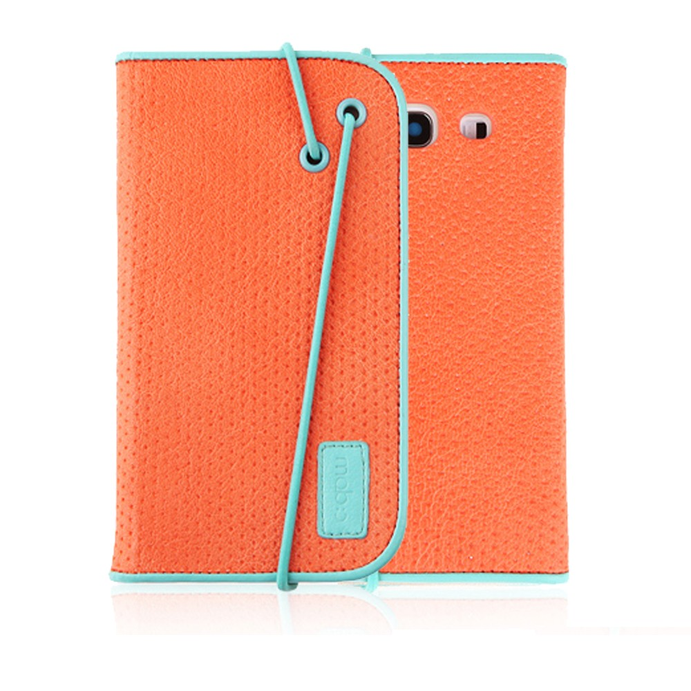 Galaxy S3 Wallet Case by Mobc [Orange/Sky Blue] Bandingbook Series Featuring Faux Leather with Elastic Closure & Free Screen Protector