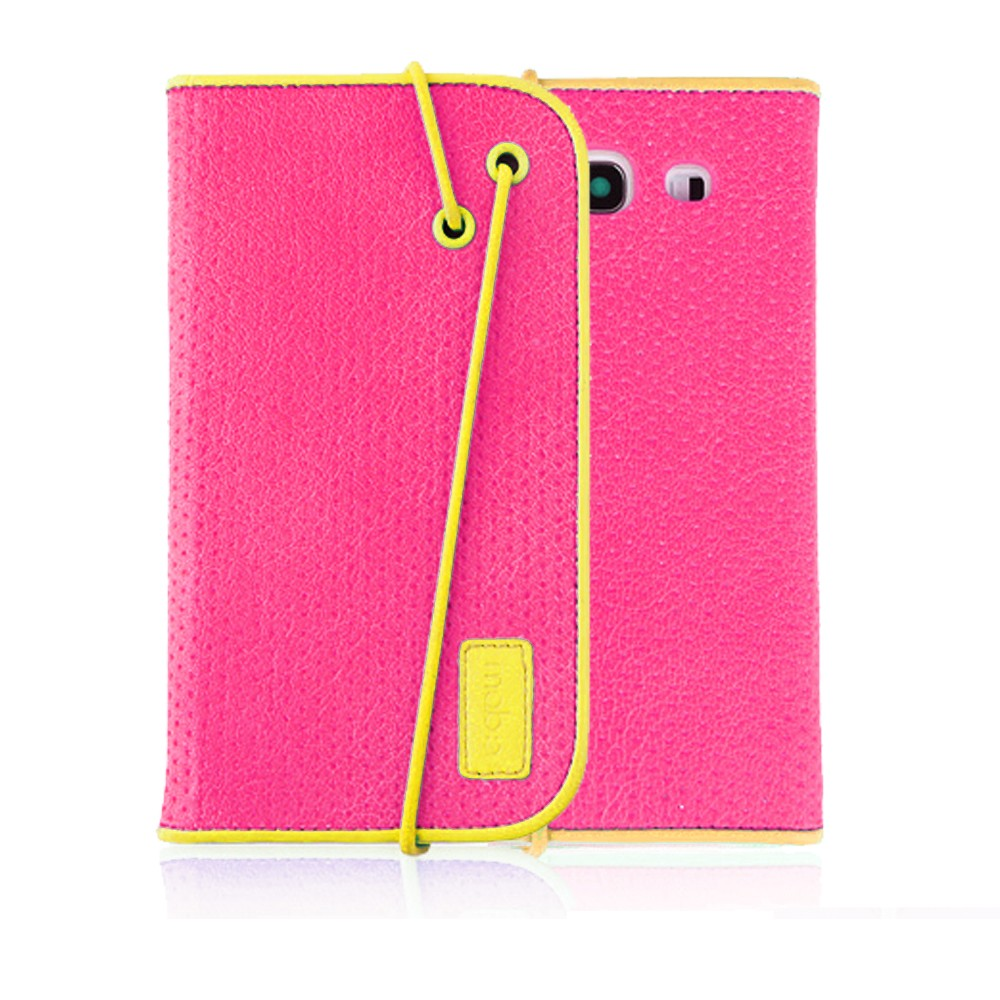 [mobc] Samsung Galaxy S3 Wallet Case [hot Pink/Yellow] Slim & Protective Flip Cover Diary Case W/ Id Slots And Stand - Keep Everything In One Place!