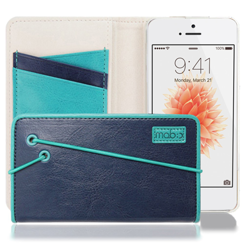 Apple iPhone SE/5/5S Case, MobC [Navy/ Turquoise] Bandingbook Series Featuring Faux Leather with Elastic Closure w/ Free Screen Protector
