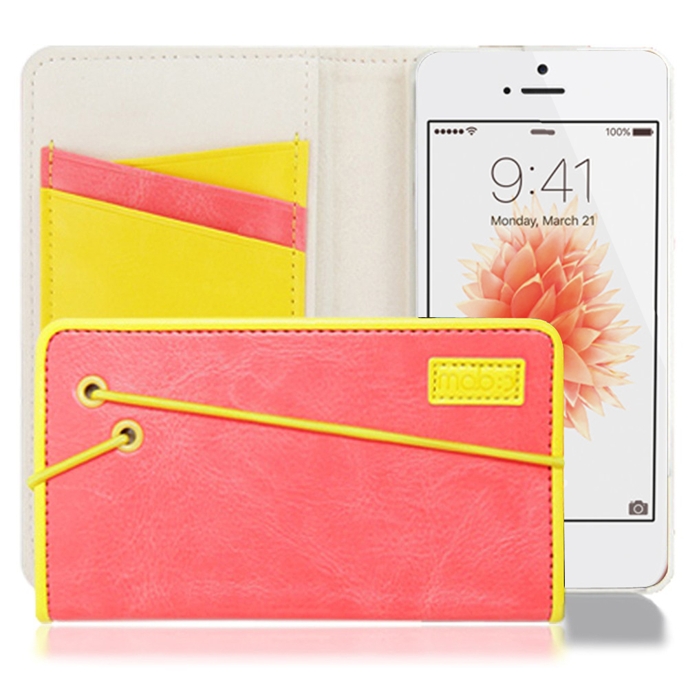 Apple iPhone SE/5/5S Case, MobC [Melon Pink/Yellow] Bandingbook Series Featuring Faux Leather with Elastic Closure w/ Free Screen Protector