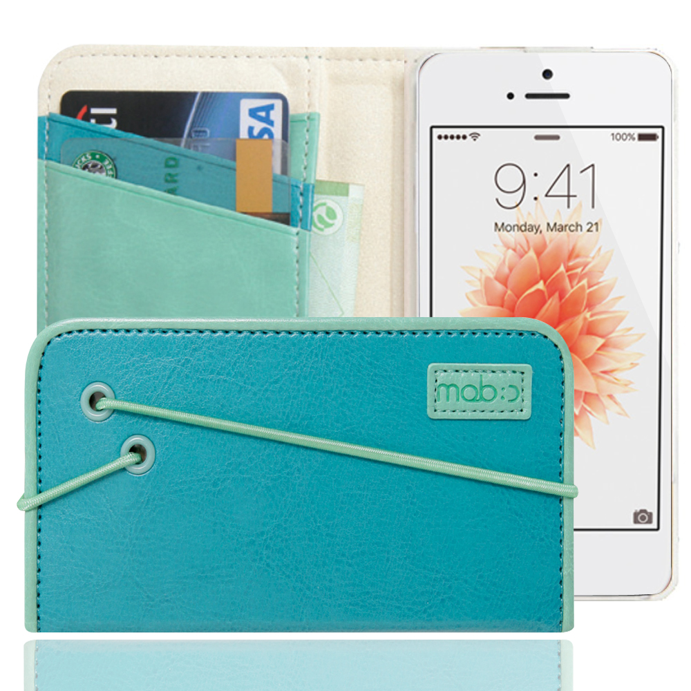Apple iPhone SE/5/5S Case, MobC [Turquoise/Mint] Bandingbook Series Featuring Faux Leather with Elastic Closure w/ Free Screen Protector