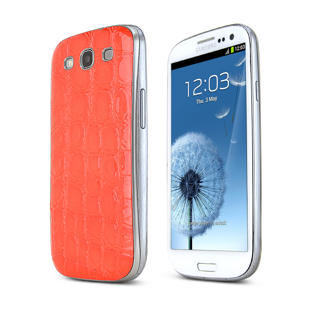 Orange Glossy Alligator Samsung Galaxy S3 Leather Textured Battery Door Case