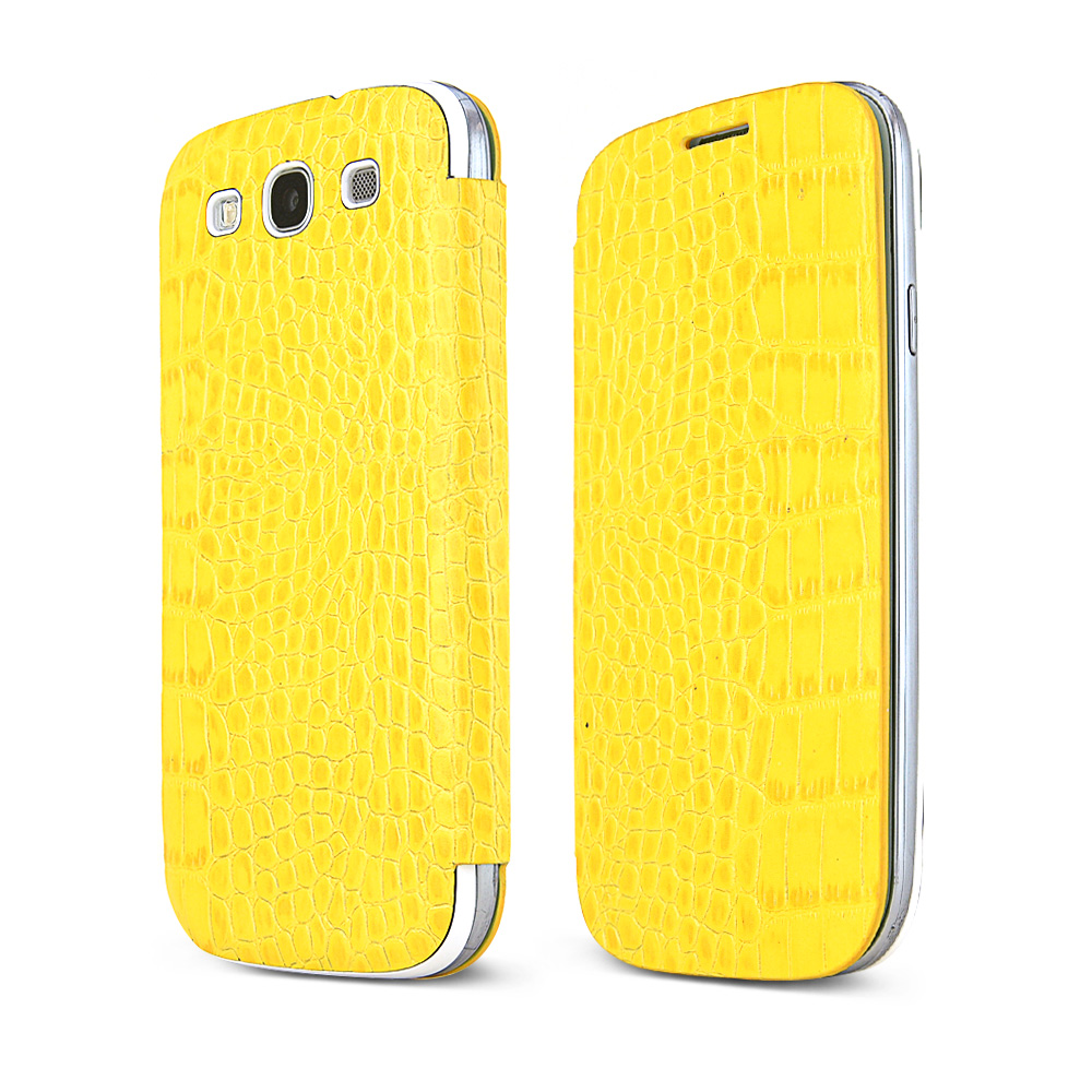 Yellow Alligator Samsung Galaxy S3 Leather Textured Diary Flip Battery Door Case