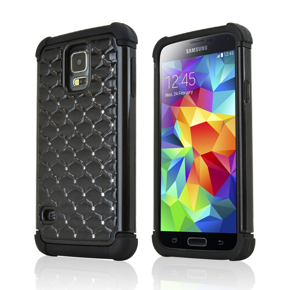 Black Hard Cover w/ Bling over Black Silicone Skin Case for Samsung Galaxy S5