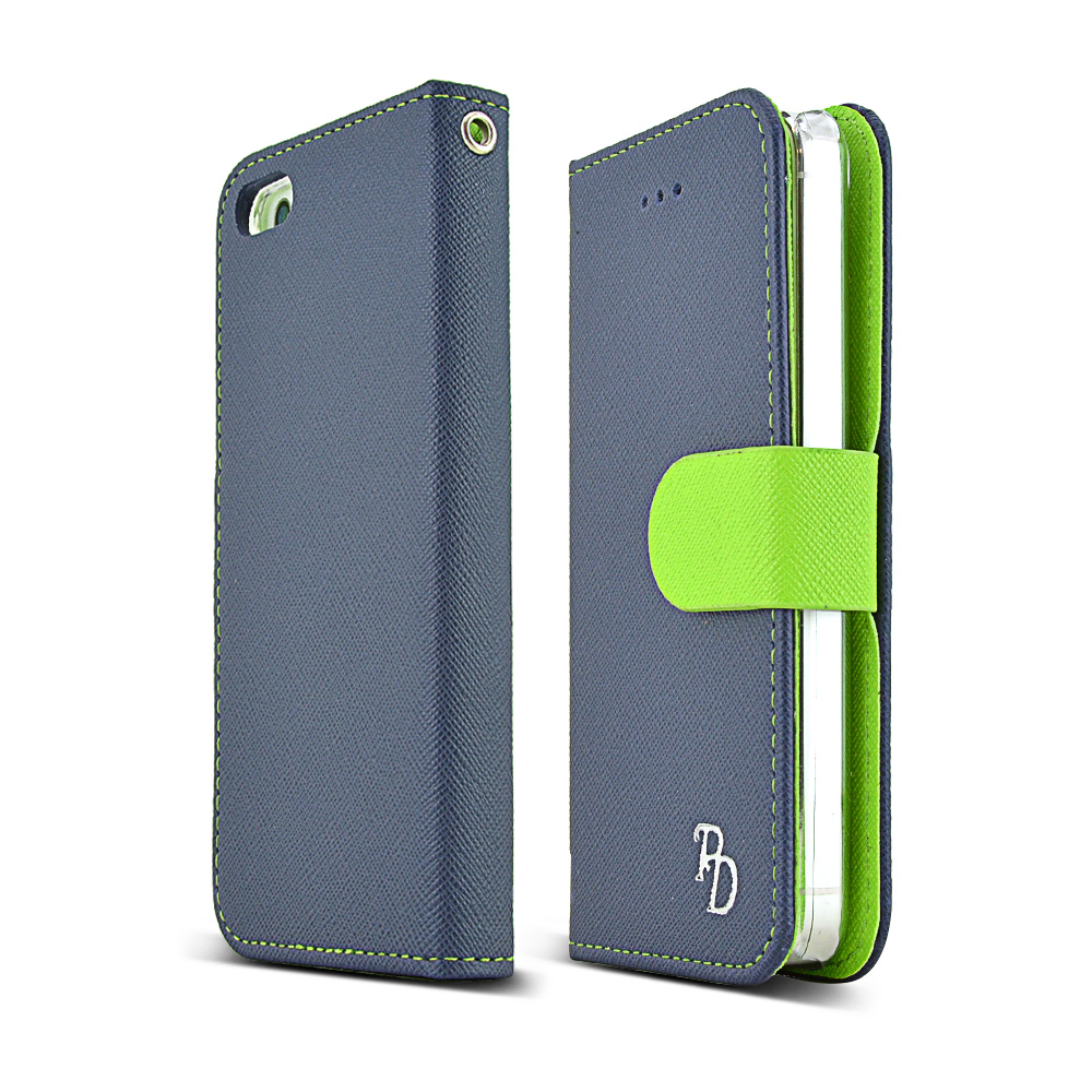 Apple iPhone SE / 5 / 5S Wallet Case, RS [Navy/ Lime Green]  Kickstand Feature Luxury Faux Saffiano Leather Front Flip Cover with Built-in Card Slots, Magnetic Flap