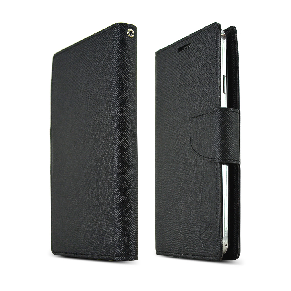 RS Black Faux Leather Diary Flip Hard Case w/ ID Slots, Wrist Strap, & Magnetic Closure for Samsung Galaxy Note 3