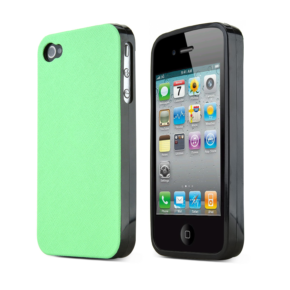 REDShield Mint Apple iPhone 4/4S Case Cover; [Anti-Slip] Soft Silicone TPU Gel Material w/ Coolest Fashion Faux leather Textured Back - XXIP4