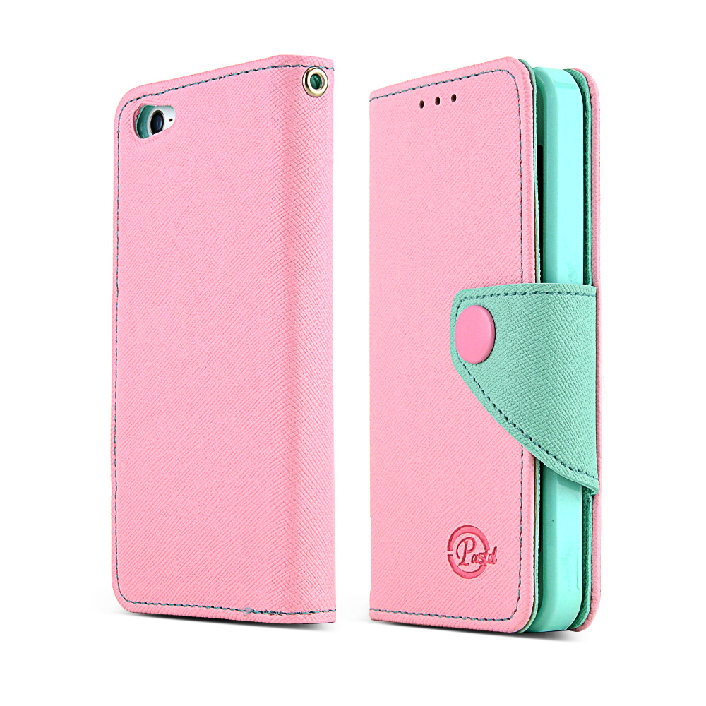 Made for Apple iPhone SE / 5 / 5S Wallet Case, [Baby Pink/Mint]  Kickstand Feature Luxury Faux Saffiano Leather Front Flip Cover with Built-in Card Slots, Magnetic Flap by Redshield