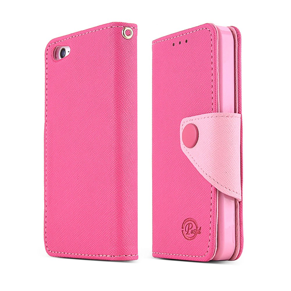 Apple iPhone SE / 5 / 5S Wallet Case,  [Hot Pink/Baby Pink]  Kickstand Feature Luxury Faux Saffiano Leather Front Flip Cover with Built-in Card Slots, Magnetic Flap