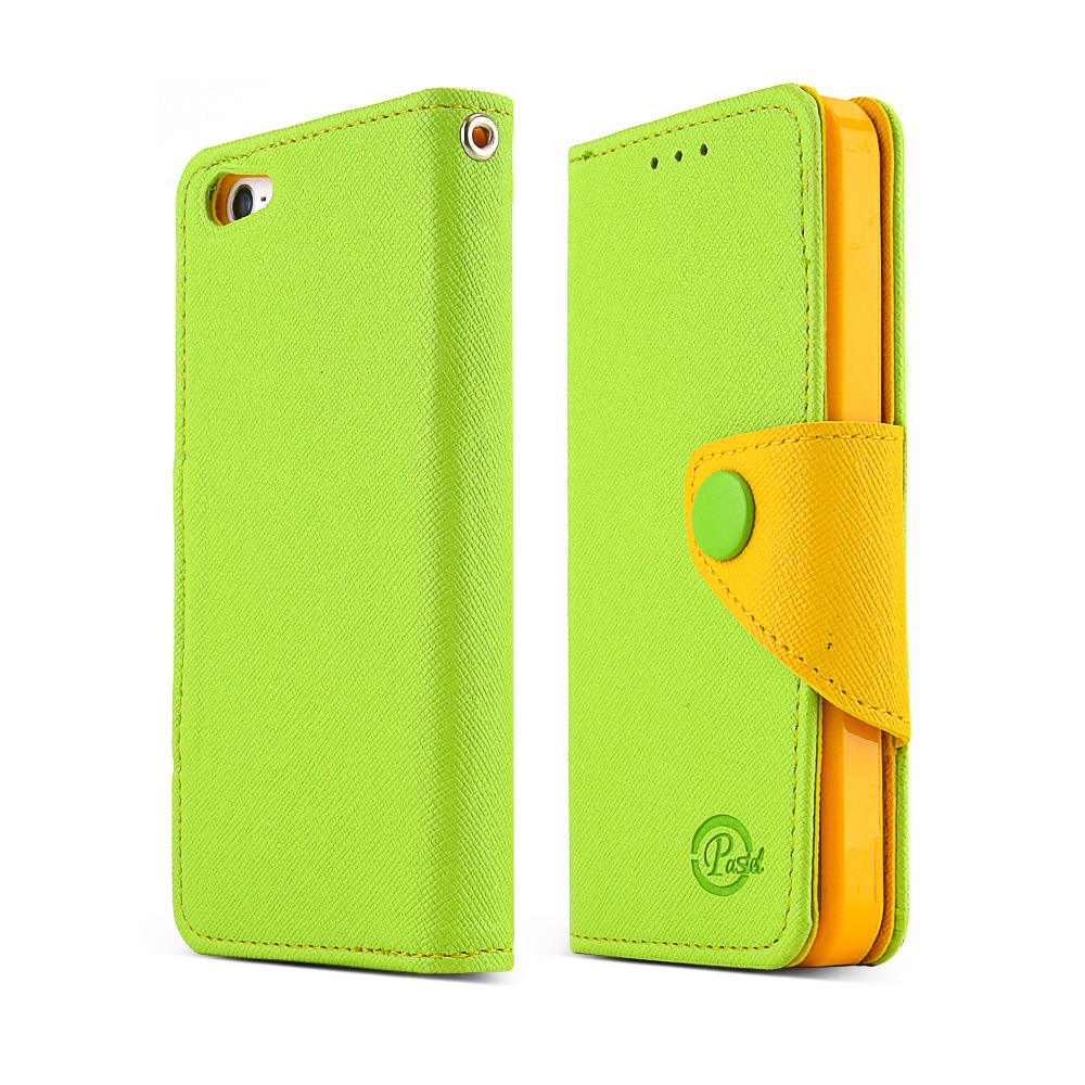 Made for Apple iPhone SE / 5 / 5S Wallet Case,  [Lime Green/Yellow]  Kickstand Feature Luxury Faux Saffiano Leather Front Flip Cover with Built-in Card Slots, Magnetic Flap by Redshield