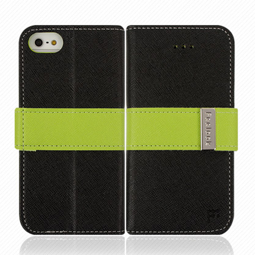 Made for Apple iPhone SE / 5 / 5S Wallet Case, Feelook [Black/Lime Green]  Kickstand Feature Luxury Faux Saffiano Leather Front Flip Cover with Built-in Card Slots, Magnetic Flap by Redshield
