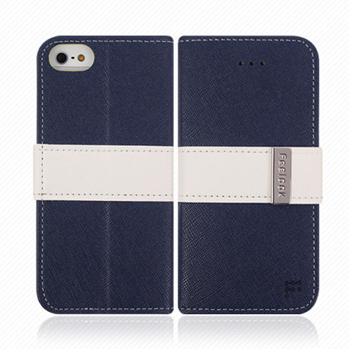 Made for Apple iPhone SE / 5 / 5S Wallet Case, Feelook [Navy/White]  Kickstand Feature Luxury Faux Saffiano Leather Front Flip Cover with Built-in Card Slots, Magnetic Flap by Redshield