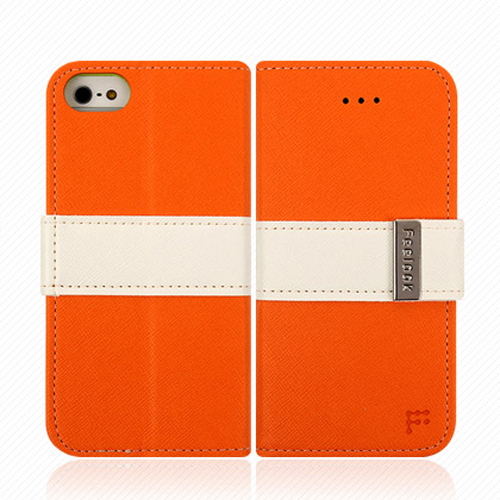 Apple iPhone SE / 5 / 5S Wallet Case, Feelook [Orange/Lime Green]  Kickstand Feature Luxury Faux Saffiano Leather Front Flip Cover with Built-in Card Slots, Magnetic Flap