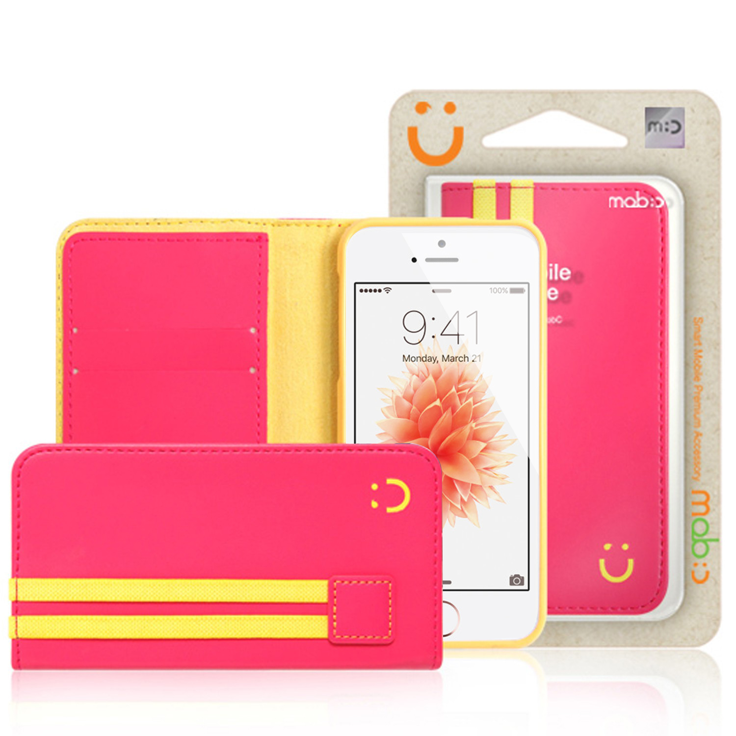 Apple iPhone SE/5/5S Wallet Case, MobC [Pink/Yellow]  Kickstand Feature Luxury Faux Saffiano Leather Front Flip Cover with Built-in Card Slots, Magnetic Flap w/ Free Screen Protector