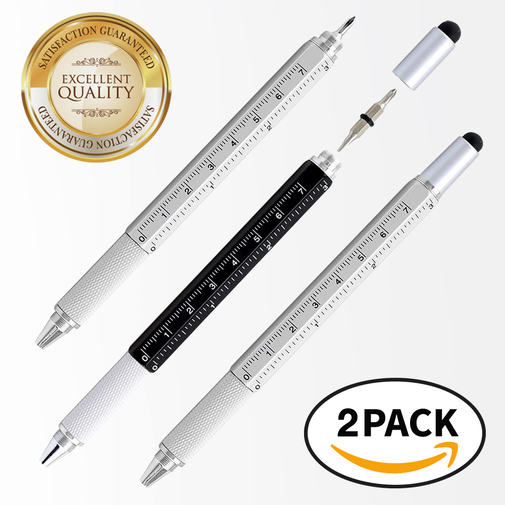 RED SHIELD 6-in-1 Multitool Twist Retractable Ballpoint Pen, Ruler (In. & Cm.), Spirit Level, Touch Screen Stylus, Phillips & Flat Head Screwdriver. Mini Multifunction Tech Tool Kit. [Black & Silver]
