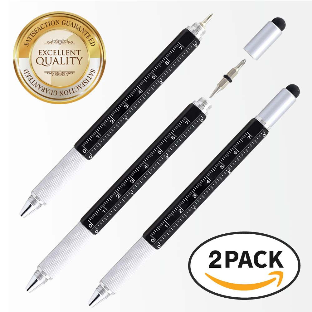 RED SHIELD 6-in-1 Multitool Twist Retractable Ballpoint Pen, Ruler (In. & Cm.), Spirit Level, Touch Screen Stylus, Phillips & Flat Head Screwdriver. Mini Multifunction Tech Tool Kit. [Black 2 PK]