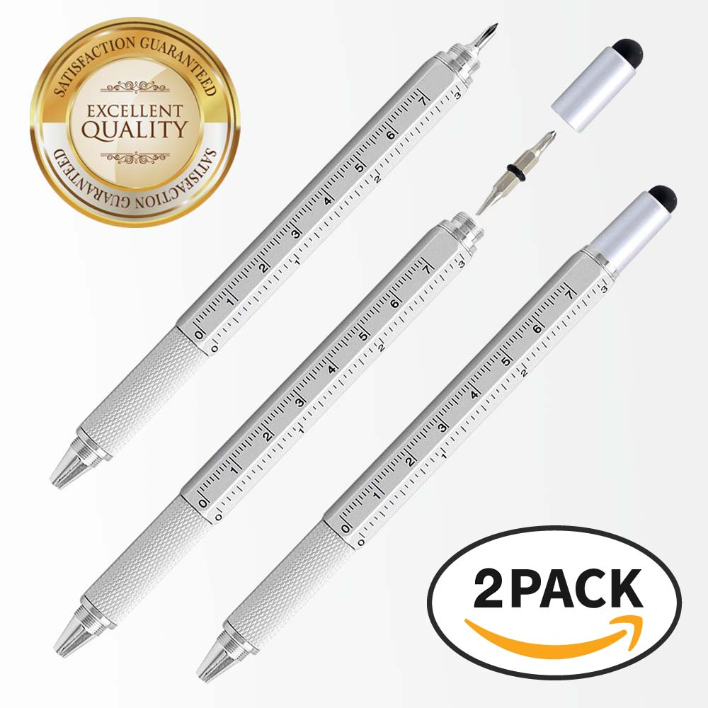 RED SHIELD 6-in-1 Multitool Twist Retractable Ballpoint Pen, Ruler (In. & Cm.), Spirit Level, Touch Screen Stylus, Phillips & Flat Head Screwdriver. Mini Multifunction Tech Tool Kit. [Silver 2 PK]