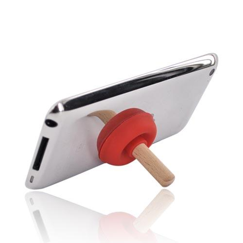 Portable Cell Phone Silicone Suction Plunger Stand Holder - Red